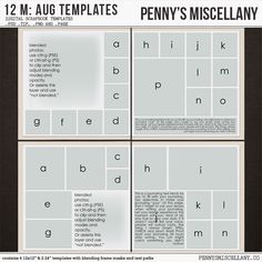 Digital Scrapbook Templates: This set contains 4 12×12 and 2 24×12″ .psd, .tiff, .png, and .PAGE templates.