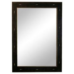 Black Shagreen and brass mirror
