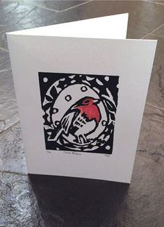 Snow Robin. Robin Red Breast Lino print. Lino print Christmas card. Robin red breast. Hand painted red breast. Lino cut. 1 of 20 easy lino tutorial: http://nikkilouise.weebly.com/lino-printing.html