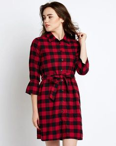 Knotted Shirt, Check Dress, Skater Dresses, Check Printing, Shirtdress, Dress Online, Cotton Dresses, Red Black, Latest Fashion Trends