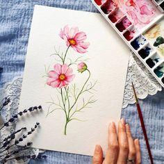 Easy Watercolor, Watercolour Tutorials, Watercolor Techniques, Watercolor Cards, Watercolour Painting, Watercolor Flowers, Painting & Drawing, Watercolors, Art Floral