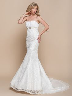 Trumpet / Mermaid Wedding Dress - Elegant & Luxurious / Glamorous & Dramatic Court Train Strapless Lace with - USD $89.99 ! HOT Product! A hot product at an incredible low price is now on sale! Come check it out along with other items like this. Get great discounts, earn Rewards and much more each time you shop with us!