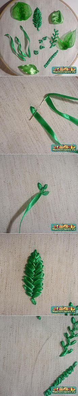 DIY ribbon leafs МАСТЕР-КЛАСС ПО ВЫШИВКЕ ЛЕНТАМИ ЛИСТОЧКИ - ДЛЯ ТЕХ,КТО ТОЛЬКО НАЧИНАЕТ embroidery Z