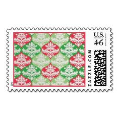 Seasonal Decorations Postage. Unique, trendy, chic and stylish Christmas holiday greetings mail stamps. With cute and fun image of red and green colored bauble decorations. Original, elegant and classy stamps to personalize your December winter season wishes with.