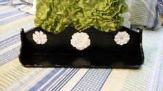 Shelf Wooden Vintage Handmade Black With White Flower Accents Wall Art