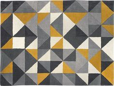 Henrik Large Hand Tufted Wool Rug 160 x 230m, Mustard and Grey from Made.com. Yellow/Grey. Henrik. A rug that's as much a piece of art as a floor-co.. Gray Bedroom, Trendy Bedroom, Mustard Rug, Mustard Yellow, Magazin Design, Tapis Design, Small Room Decor, Textiles, Yellow Rug