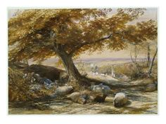 size: Giclee Print: Sheep in the Shade Art Print by Samuel Palmer by Samuel Palmer : Fine Art Old Couples, Classic Paintings, Soul Art, Romanticism, Painting Inspiration, Art Images, Find Art, Giclee Print, Art Photography