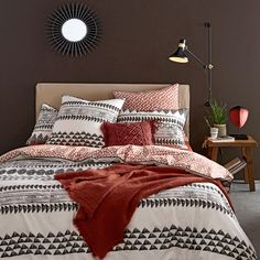 Inspired by Berber linens, this striking Tiebele printed cotton duvet cover creates an exotic oasis in any bedroom. With a bold Moroccan-inspired. Barn Bedrooms, Home Bedroom, Dream Bedroom, Bedroom Decor, Terracota, Cotton Sheets, Cotton Duvet, Berber, Bedroom Plants