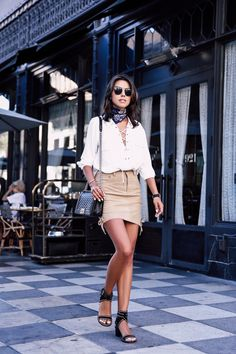 Suede mini skirt + lace up white blouse outfit + blue bandana