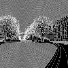 Canal St Martin Paris by talented artist Matt W Moore @mwm_graphics #Moiré #CanalStMartin #dcnart