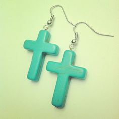 Turquoise Cross Earrings Silver Turquoise by McIntoshJewelry Cross Earrings, Silver Earrings, Gold Necklace, Spike Necklace, Gold Wire, Turquoise Jewelry, Gold Chains, Addiction, Jewellery
