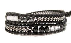 Leather cord, curb chain, silk thread, and faceted beads wrap bracelet