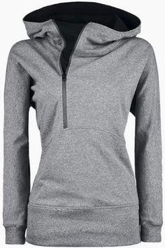 Trendy Hooded Long Sleeve Zippered Solid Color Women's Hoodie