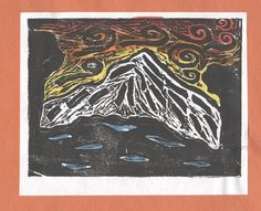 Mt Rainier Print Inspired By Japanese Printmaker Hokusai This Was Done With Black Ink