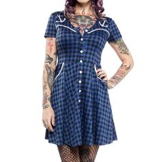 "Sourpuss Blue Gingham Anchor Western Dress Small New with tags (was a little too roomy for me) black & blue gingham plaid western dress from Sourpuss. White anchor embroidery, white buttons and piping. Has pockets. Unbuttons at top bodice, but the buttons down the skirt are for decoration. Somewhat thick/dense material. Lying flat measures: 17.5"" chest, 14"" waist, 34.5"" length. Stretches. Machine washable. Also selling this in purple! Sourpuss Dresses Mini"