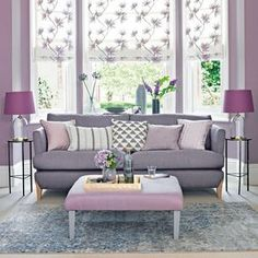 Lilac living room with grey-toned sofa and floral blinds. Lilac living room with grey-toned sofa and floral blinds. Looking for living room decorating ideas? Be inspired by this lilac and lavender living room with grey sofa and floral blinds Lavender Living Rooms, Mauve Living Room, Living Room Colors, Living Room Modern, Living Room Sofa, Living Room Designs, Living Spaces, Living Room Ideas Purple And Grey, Small Living