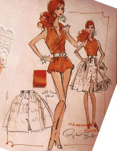 """""""Hollywood Hostess"""" Barbie design sketch w/ swatches by Robert Best"""