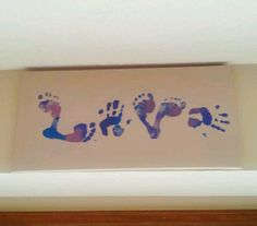 """""""Love"""" made with child's hands and foot prints! Excellent grandparent gift!"""