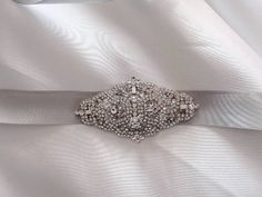 Wedding Bridal Brooch Dress Crystal Belt Embellished by Toquita, $95.00