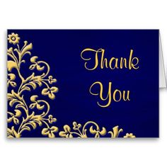 Wedding Thank You blue and gold brocade card