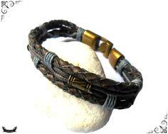 Bracelet cuir tressé fil de chanvre entrelacé ethnique pour homme : Bijoux pour hommes par ewavende