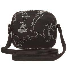 Girls Black & Silver Map Print Bag (15cm), Alviero Martini, Girl