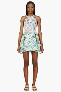 Mary Katrantzou Orange & Turquoise Silverfloss Ohara Dress for women | SSENSE