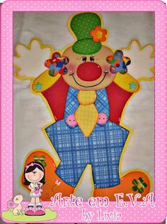 Painel de palhaços para comemorar o Dias das Crianças!!!   Encomenda das meninas do CEI Acalanto!     Esses ficaram bem grandes!         ... Scrapbook Bebe, Flamingo, Clip Art, Kids Rugs, Frog Crafts, Kids Part, Creative Crafts, Easy Drawings, Clowns