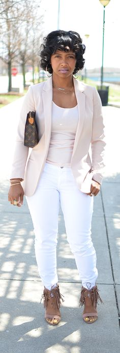 Spring Outfit Idea, Blazer, White Jeans