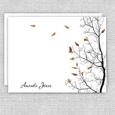 Personalized Printed Note Cards - Fall Tree Small Letters, Personalized Note Cards, Rust Color, Autumn Trees, White Envelopes, Card Stock, Birthday Gifts, Great Gifts, Notes
