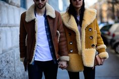 A little bit of shearling goes a long way when it comes to being noticed on the streets of Milan Men's Fall 2016 fashion week.