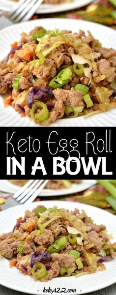 Keto Egg Roll in a Bowl - Easy Keto Chinese Recipes Keto Chinese Food, Healthy Chinese Recipes, Vegan Keto Recipes, Low Carb Recipes, Easy Weekday Meals, Easy Meals, Keto Takeout, Vegan Egg Rolls