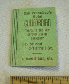 Hotel CALIFORNIAN San Francisco MINIATURE postage BOOK air mail + add zip STAMPS