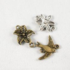 Lot de 3 connecteurs - fleurs et oiseaux - métal argenté et couleur bronze