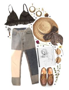 """""""sketch"""" by lucyymoriartyy ❤ liked on Polyvore featuring Ganni, Dr. Martens and GUSTA"""