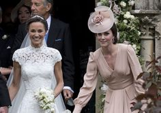 ENGLEFIELD GREEN, ENGLAND - MAY 20:  Pippa Middleton and Catherine, Duchess of Cambridge attend the wedding of Pippa Middleton and James Matthews at St Mark's Church on May 20, 2017 in Englefield Green, England.  (Photo by UK Press Pool/UK Press via Getty Images) via @AOL_Lifestyle Read more: https://www.aol.com/article/lifestyle/2017/05/20/duchess-kate-middleton-dress-pippa-wedding/22100932/?a_dgi=aolshare_pinterest#fullscreen