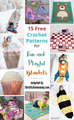 15 Free Crochet Patterns for Fun and Playful Blankets compiled by The Stitchin' Mommy Crochet Square Blanket, Crochet Blanket Patterns, Baby Blanket Crochet, Crochet Stitches, Crochet Baby, Free Crochet, Knit Crochet, Crochet Blankets, Diy Blankets