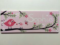"""Türschilder - Türschild ♥ Namensschild """"Vögel""""rosa - ein Designerstück von eulentraum bei DaWanda"""