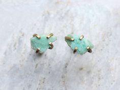 Azurite Mineral Specimen Prong Set Stud Earrings by wonderkept