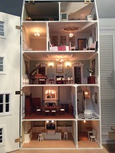 The Regency' inside, by Dolls House Grand Designs (jt-now making for Harrods - go to DHGD board for more pics) Dollhouse Design, Dollhouse Dolls, Miniature Dolls, Dollhouse Miniatures, Dollhouse Interiors, Dollhouse Ideas, Regency House, Georgian Architecture, Grand Designs