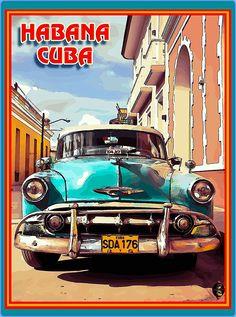 Large Weekender Carry-on Ambesonne Vintage Car Gym Bag Old Car Cuba Street