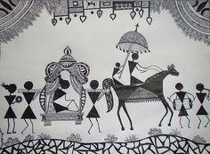 Warli Painting - Baraat - The Wedding Procession by Sachin Raverkar Worli Painting, Fabric Painting, Painting Gallery, Madhubani Art, Madhubani Painting, Art Sketches, Art Drawings, Fine Art Amerika, Indian Art Paintings
