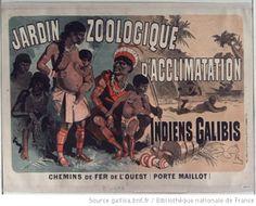 Jardin zoologique d'acclimatation : Indiens Galibis. Chemins de fer de l'Ouest (Porte Maillot) : [affiche] / [Jules Chéret] - 1882