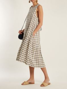 Click here to buy Lee Mathews Edith sleeveless checked linen dress at MATCHESFASHION.COM