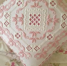 🌸 Another completed and assembled Hardanger embroidery pillow in lovely pink .- 🌸 Another completed and assembled Hardanger embroidery pillow in lovely pink … 🌸 Another completed and assembled Hardanger… - Tambour Embroidery, Hardanger Embroidery, Beaded Embroidery, Hand Embroidery, Llama Decor, Drawn Thread, Hello Kitty Wallpaper, Bargello, Cutwork