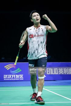 Kento Momota of Japan celebrates winning the men's singles final against Chen long of China at the 2018 Badminton Asia Championships on Apirl 2018 in Wuhan, central China's Hubei province. Wuhan, Badminton Match, Chen Long, Olympic Team, Single Player, Sport Photography, Olympics, Legends, Asia