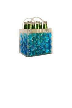 """This Chill It bag is perfect for 6 beer bottles, soda cans, or a picnic lunch. The bag is equipped with a freezable middle divider so your items are kept cool on all four sides! Sleek and functional, Bella Vita Chill It Bags are perfect for keeping things cool. Contemporary, hexagonal design filled with freezable liquid. These cosmopolitan bags are festive, fun and can be stored in the freezer ready to Chill It when you need them!    Measures: 7"""" H x 5"""" D x 8"""" W   Chill-It 6pack Bag by Bella…"""