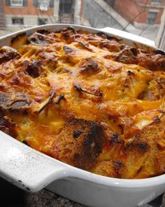 chicken sausage and apple strata