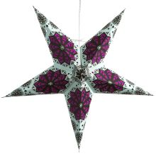 This hanging star light features a unique green background with magenta tissue paper cutouts in a snowflake pattern, accompanied by small circular holes scattered throughout. Paper Star Lights, Paper Star Lanterns, Paper Light, Paper Stars, Paper Snowflake Patterns, Paper Snowflakes, Hanging Star Light, Origami Ball, Origami Boxes
