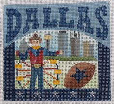 Denise DeRusha Designs Dallas Hand Painted Needlepoint Canvas 18 count